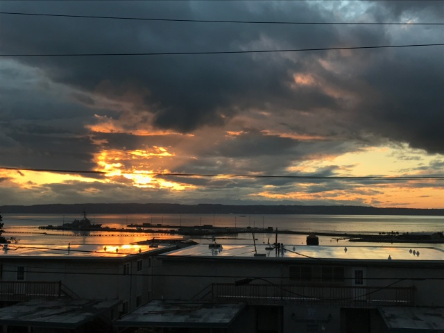 Sunset over Puget Sound, Naval Station Everett